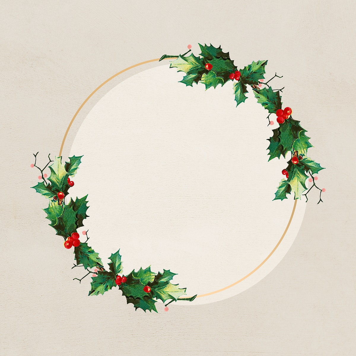 Festive golden Christmas wreath social ads template vector