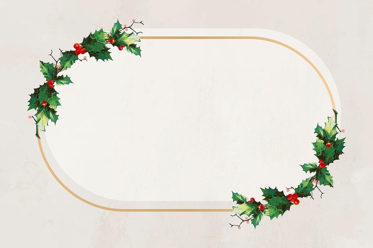Golden festive oval Christmas background vector
