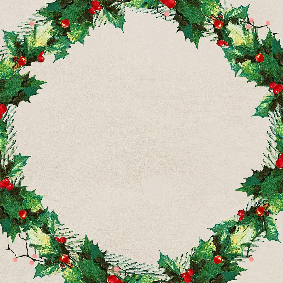 Blank festive christmas wreath social ads template vector