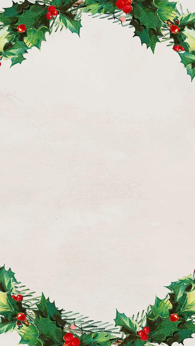 Christmas wreath mobile phone wallpaper vector
