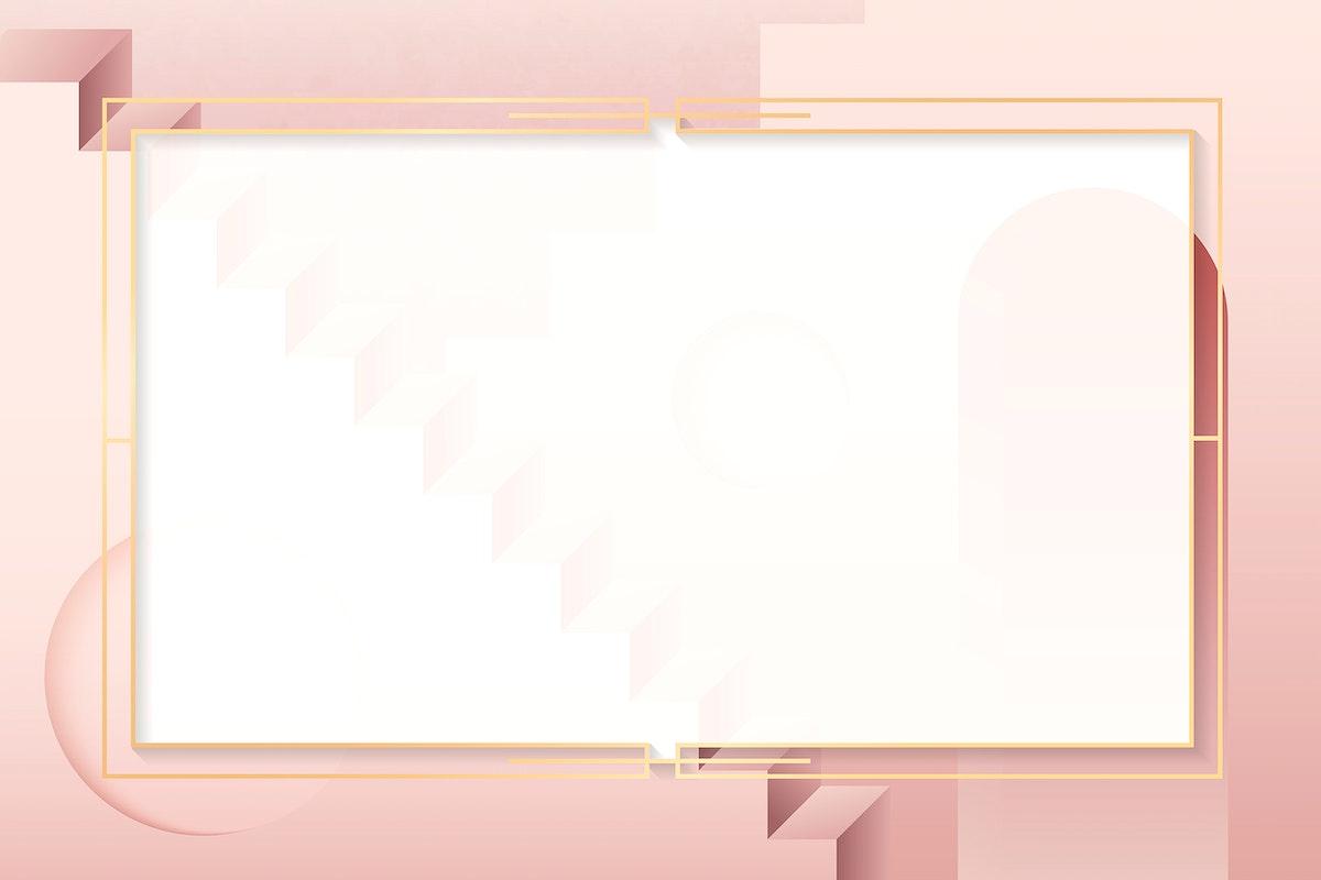 Golden rectangle frame on a pink background vector