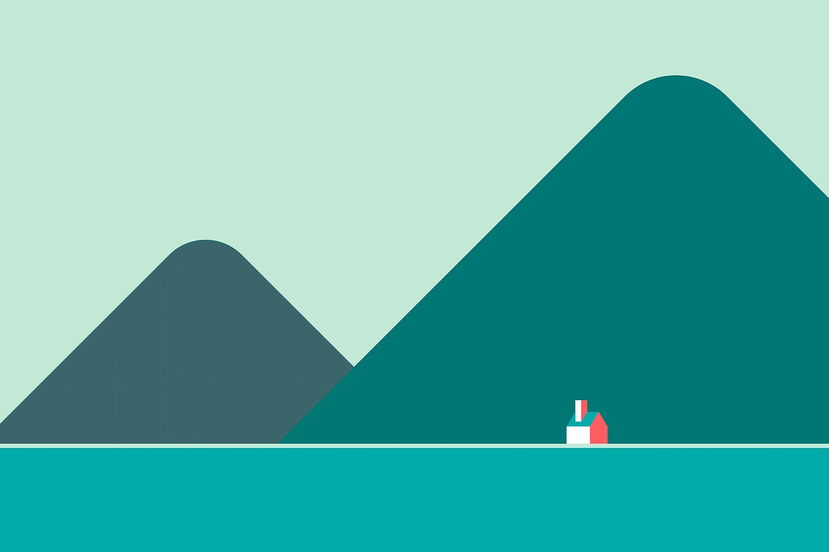 Minimal house in solitude by the hills vector