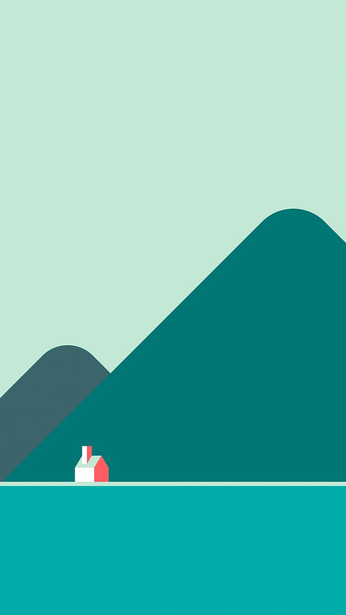 Minimal house in solitude by the hills  mobile phone wallpaper vector