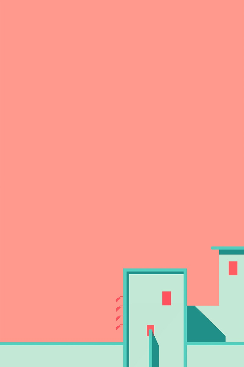 Minimal building on a peach background vector