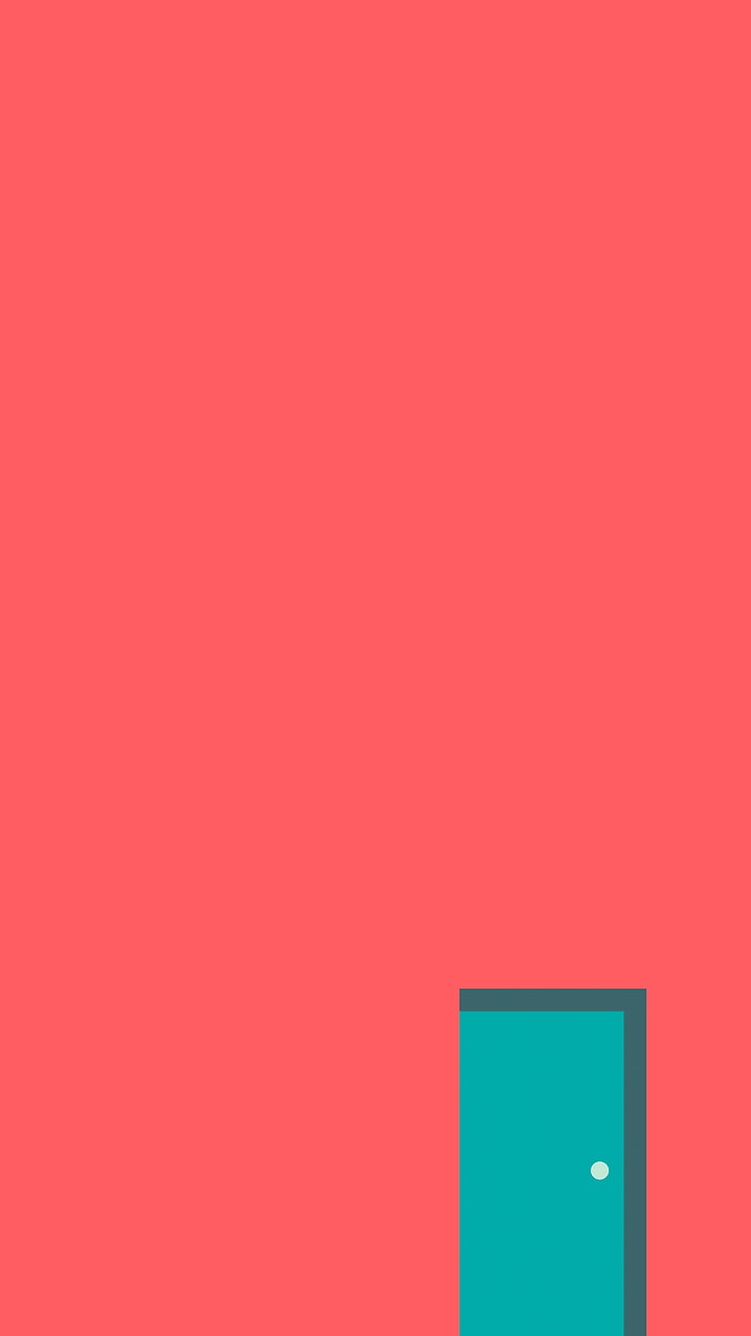 Green door on a pink minimal wall mobile phone wallpaper vector