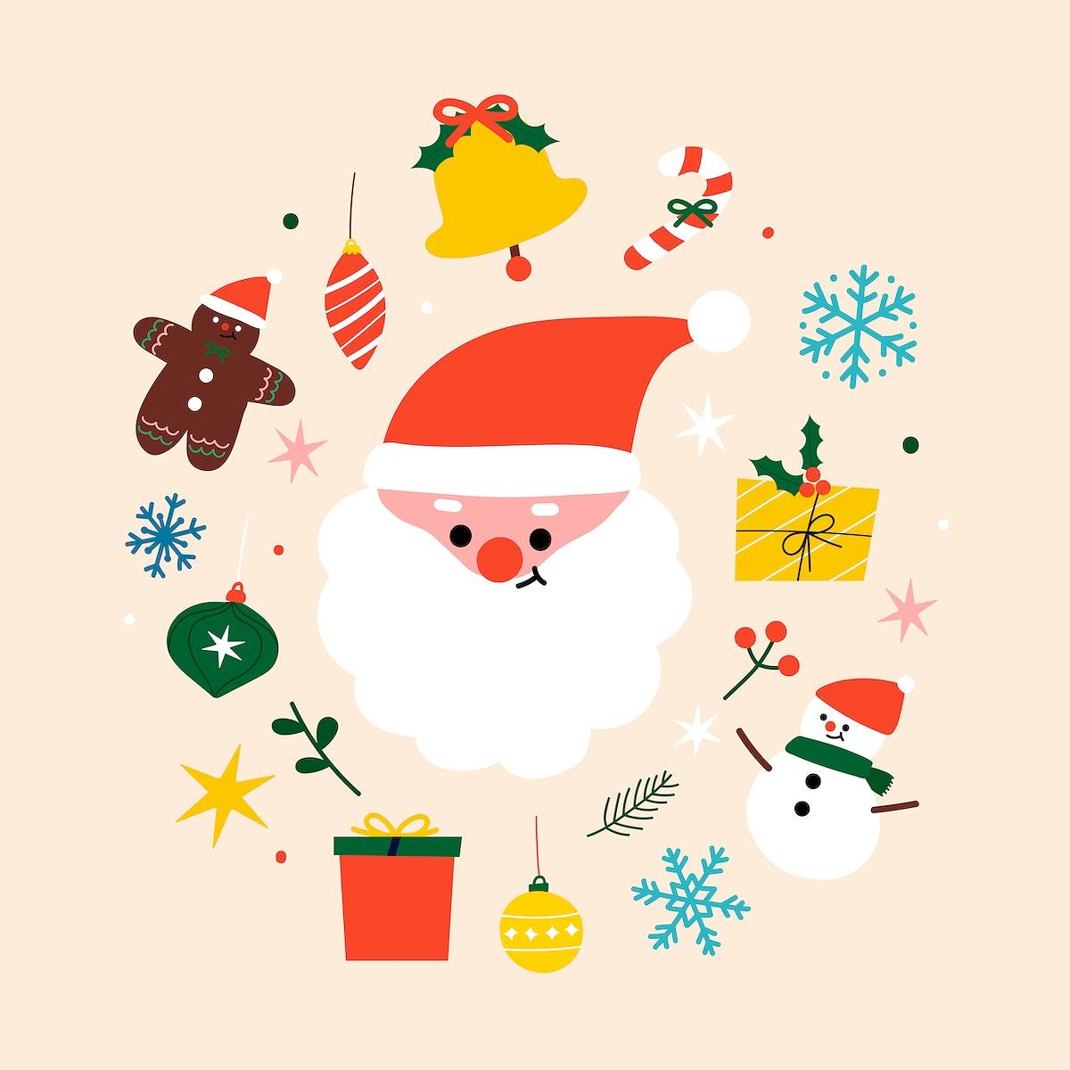 Festive Christmas social ads template vector