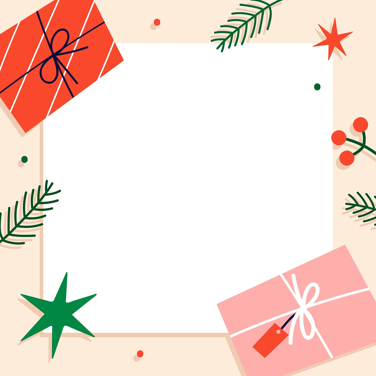 Square Christmas social ads template vector