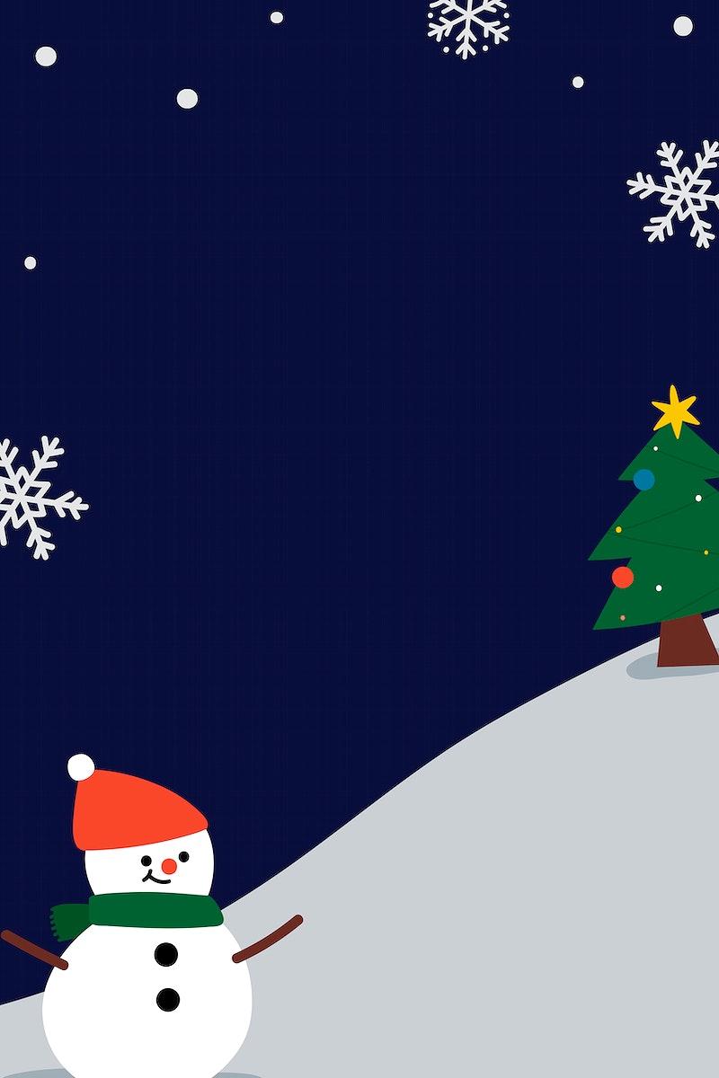 Festive Christmas snowman frame vector