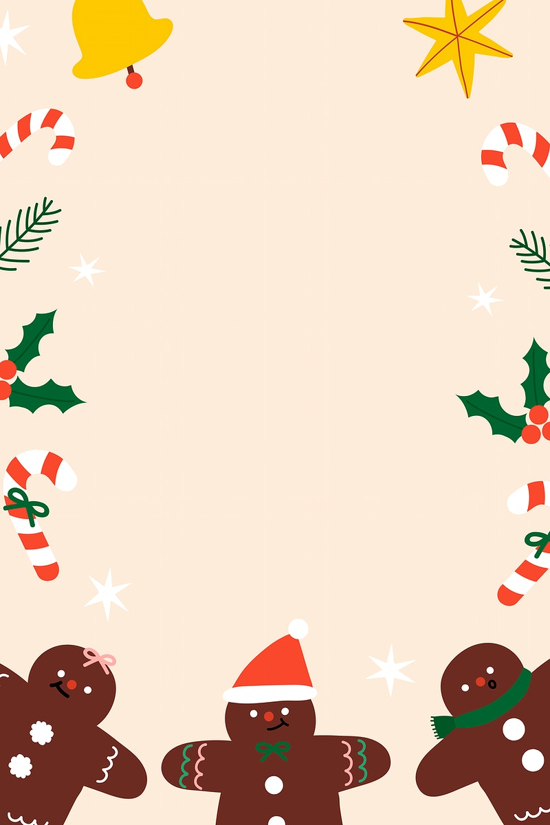 Festive Christmas gingerbread man frame vector