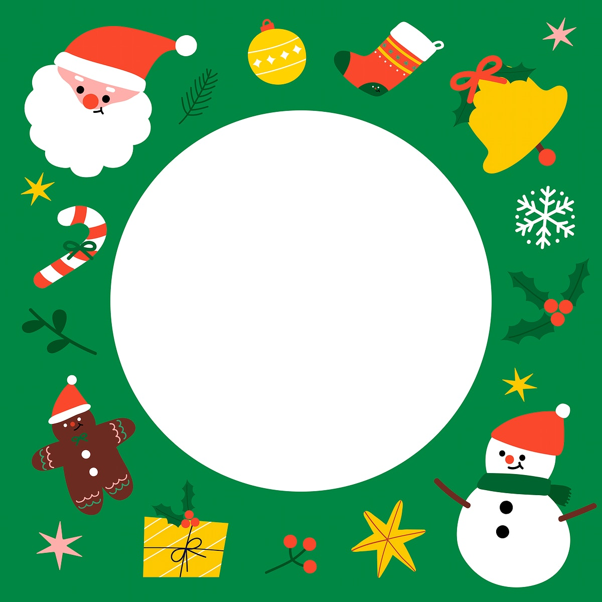 Round Christmas social ads template vector