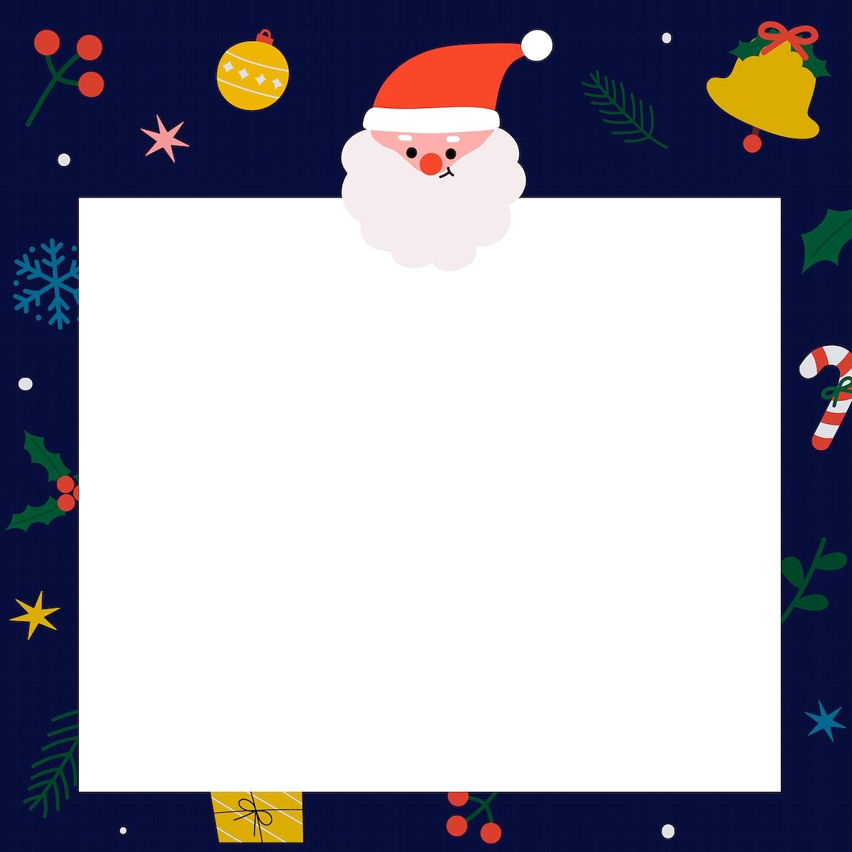 Square Santa Christmas social ads template vector