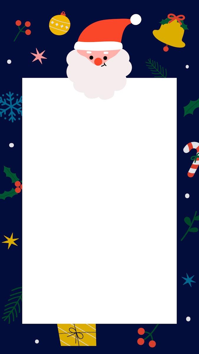 Rectangle Santa Christmas frame mobile wallpaper vector