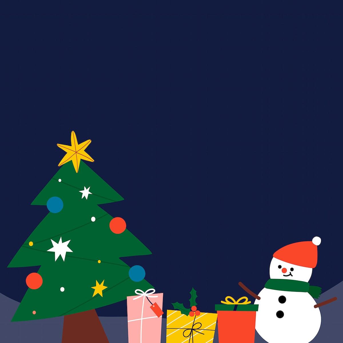 Festive Christmas snowman social ads template vector