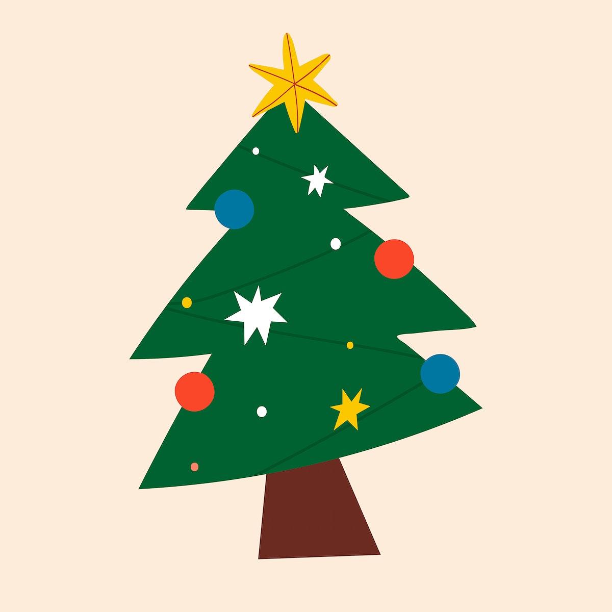 Festive decorative Christmas tree social ads template vector