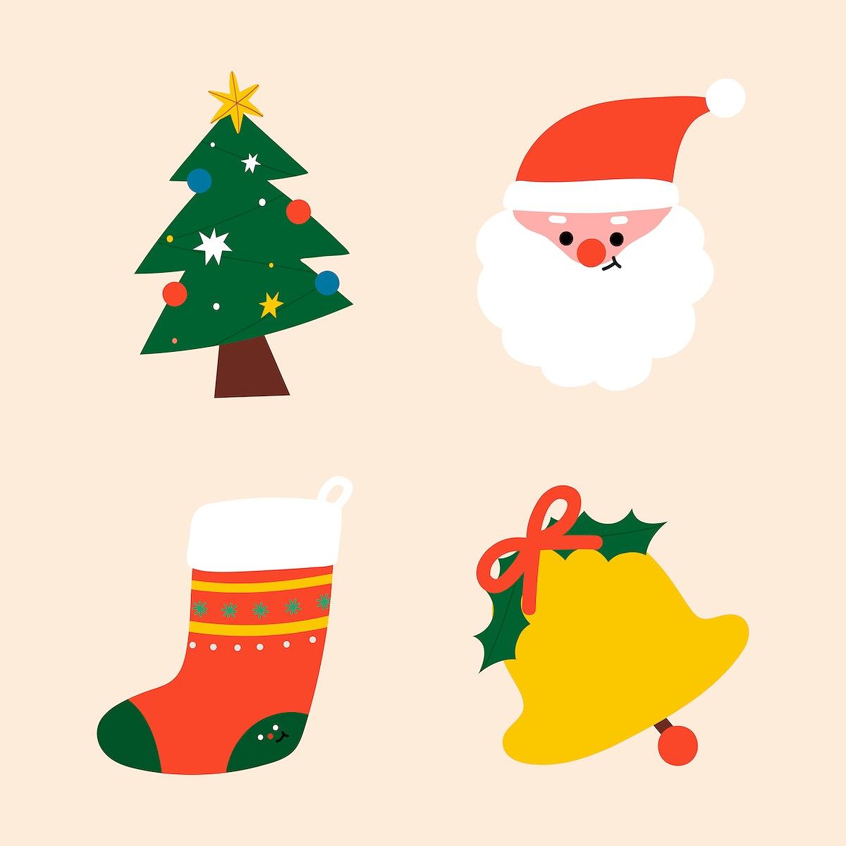 Festive decorative Christmas elements set vector