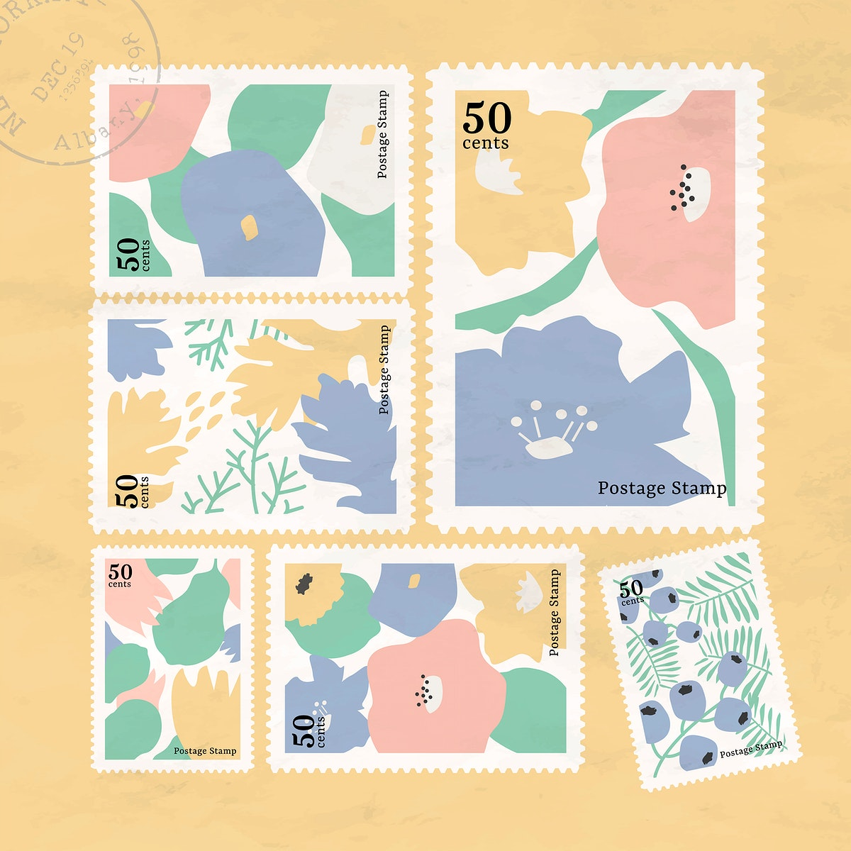 Botanical stamp collection on yellow background vector