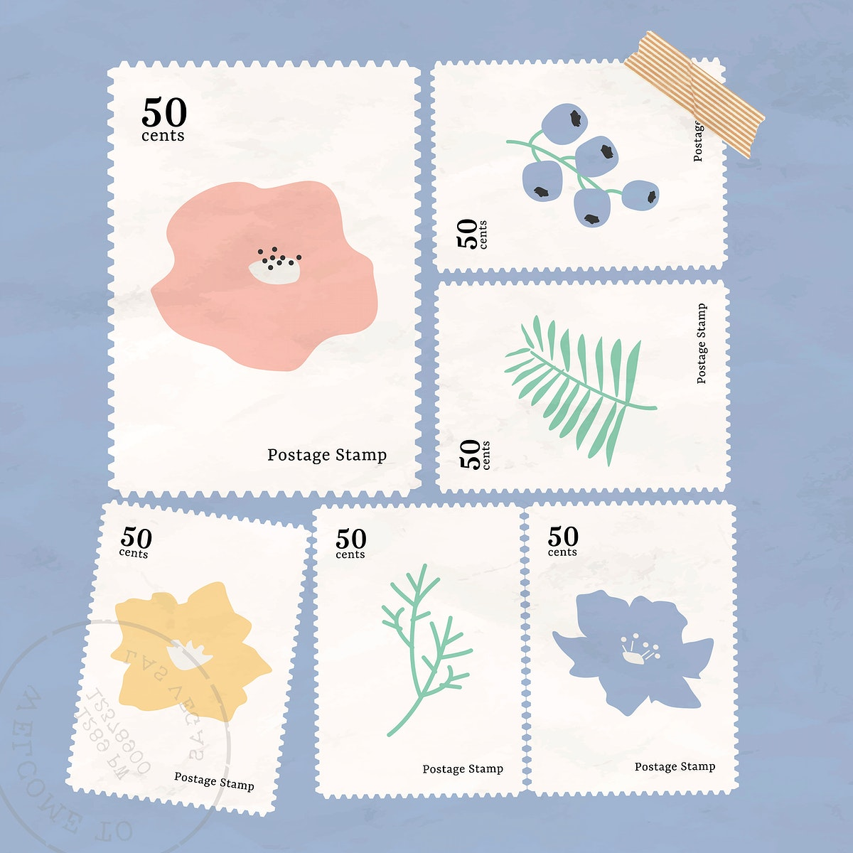 Botanical stamp collection on blue background vector