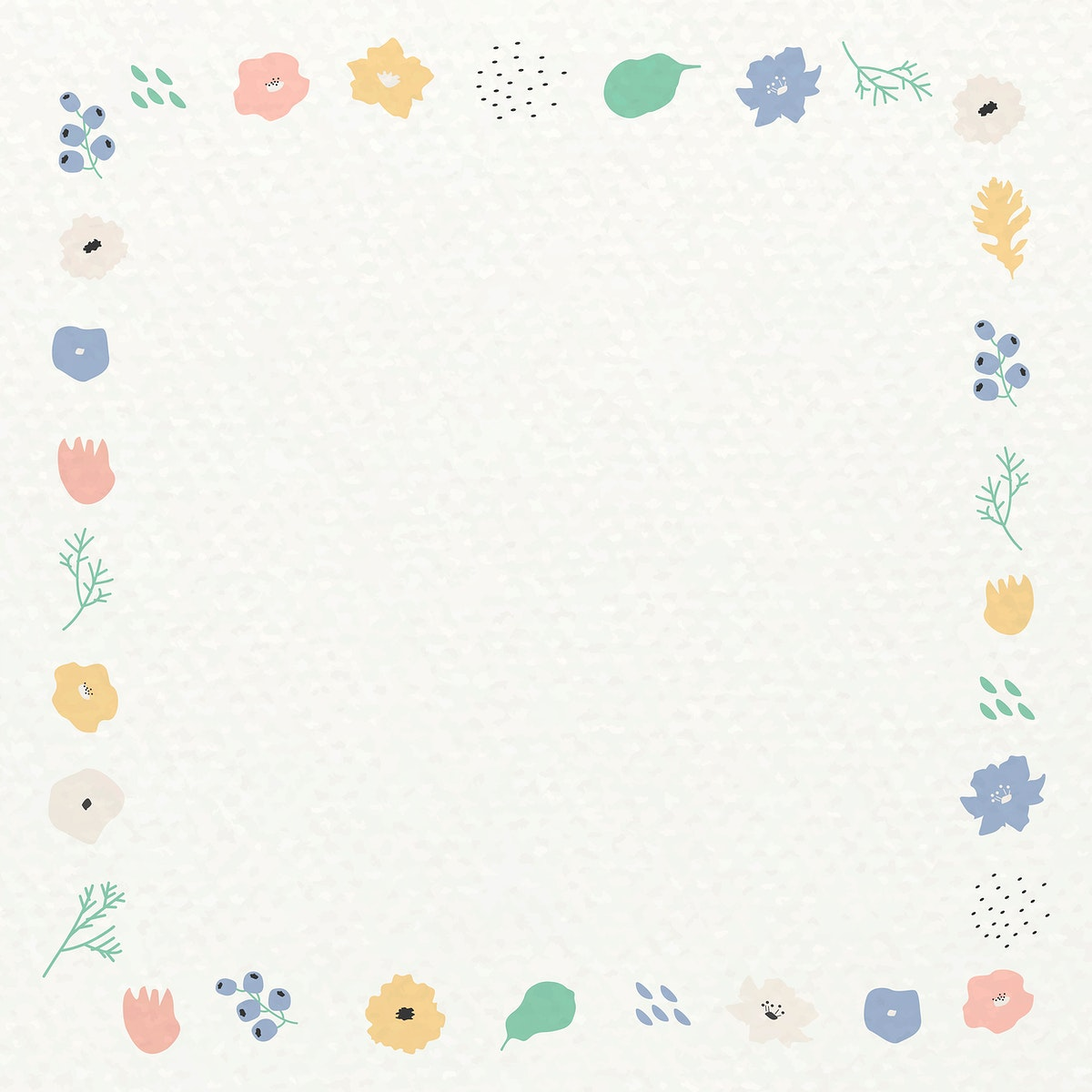 Botanical pattern frame on beige background vector