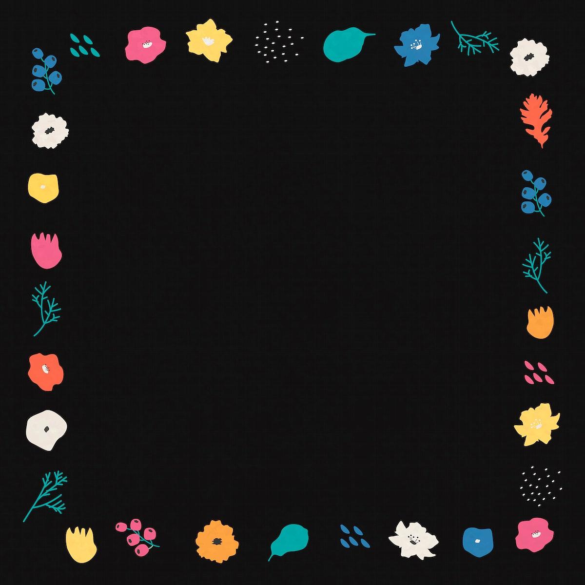 Botanical pattern frame on black background vector