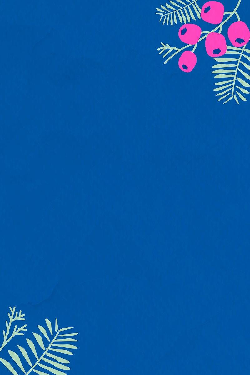 Botanical pattern on blue background vector