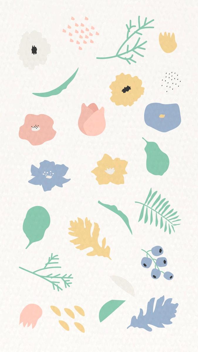 Botanical pattern on beige mobile phone wallpaper vector