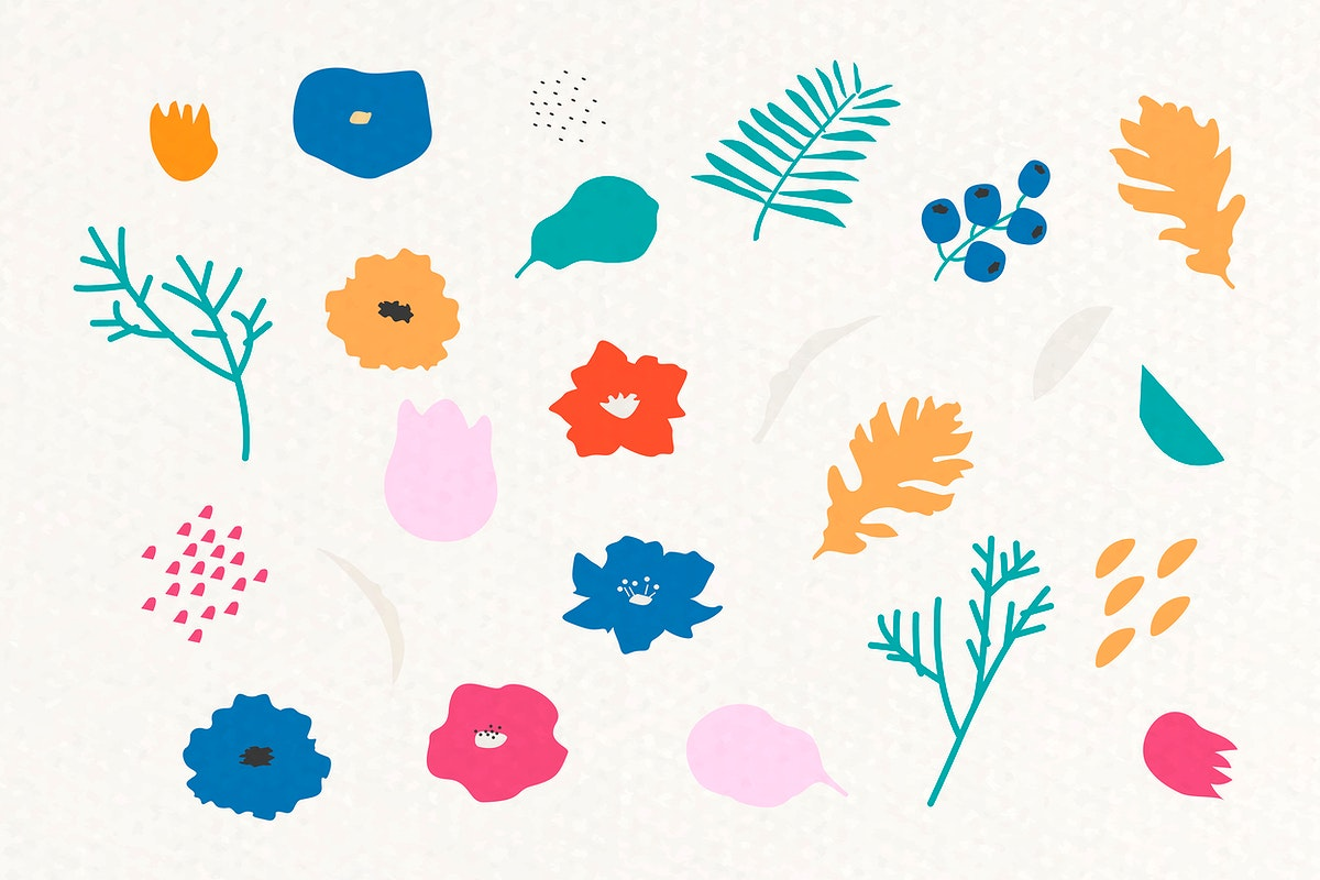 Botanical pattern on beige background vector