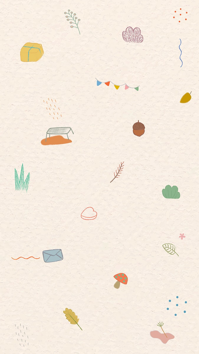 Cute autumn doodle patterned mobile screen wallpaper