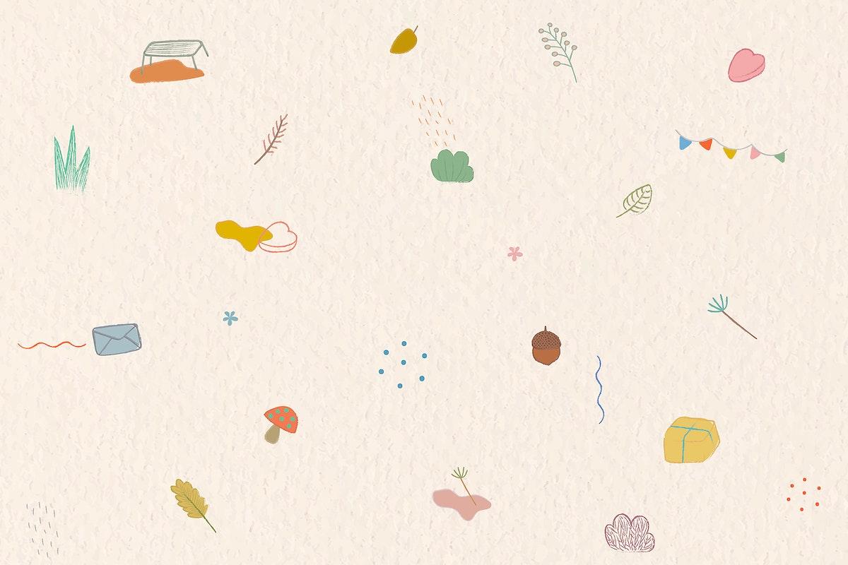 Autumn crayon doodles patterned background