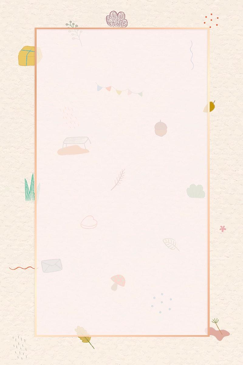 Autumn crayon doodles patterned frame