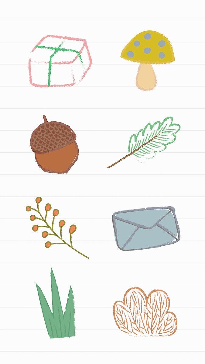 Cute autumn doodles mobile screen wallpaper