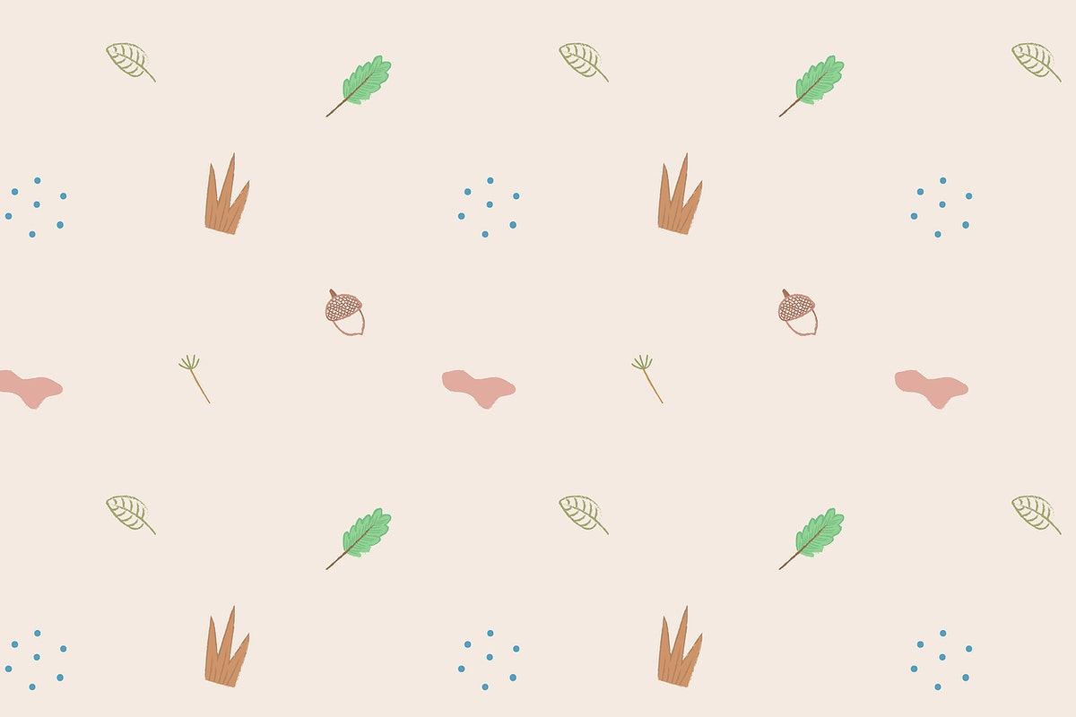 Autumn doodles seamless patterned background