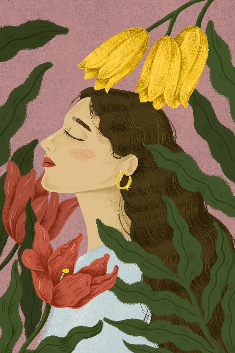 Beautiful woman surrounded by nature illustration