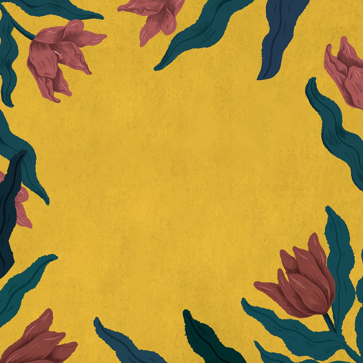Blooming tulips frame in yellow background illustration