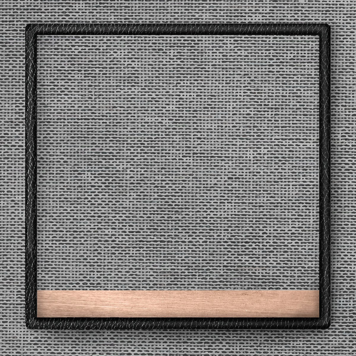 Black leather frame on gray fabric texture background vector