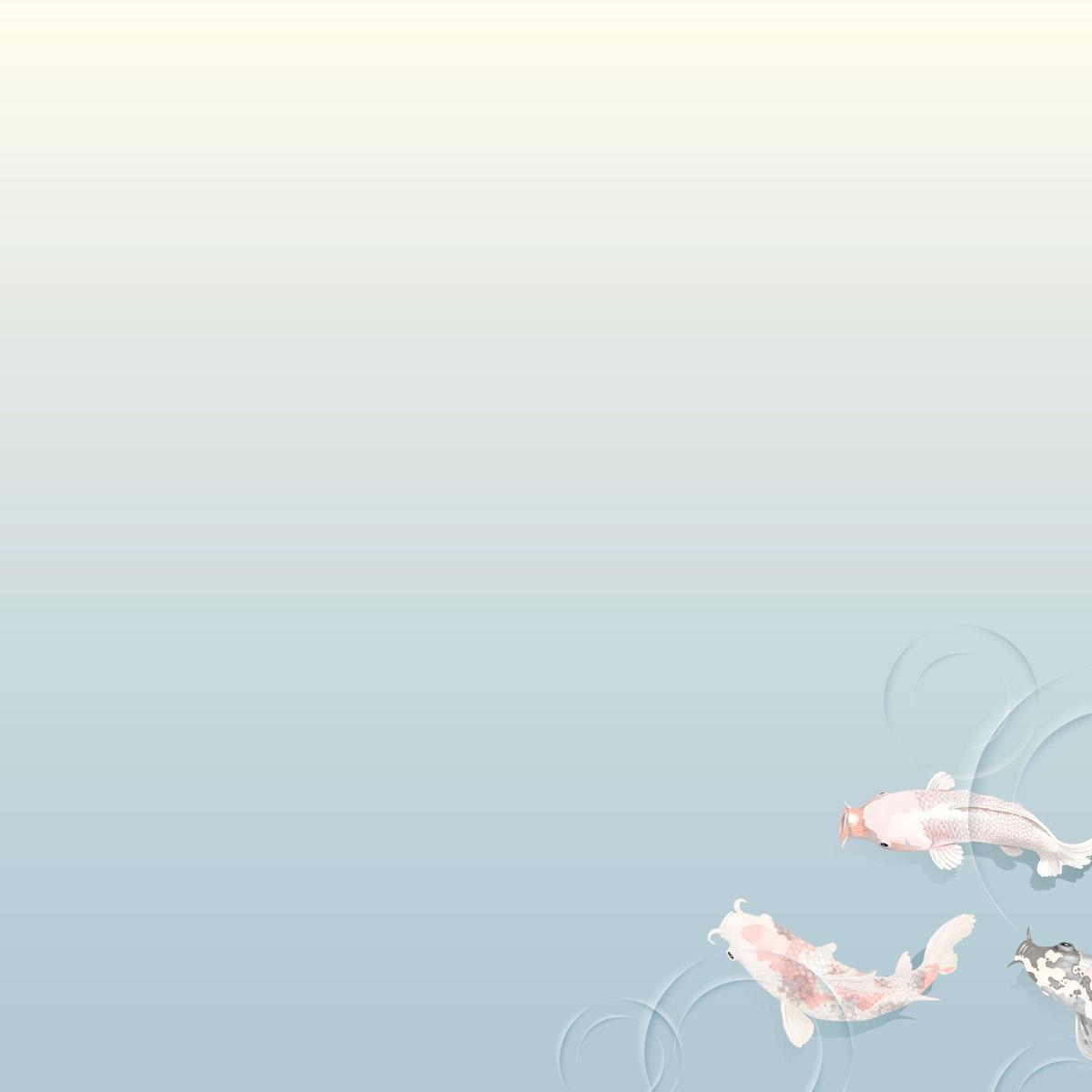 Vintage koi fish decorated background