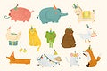 Animal party doodle design vector