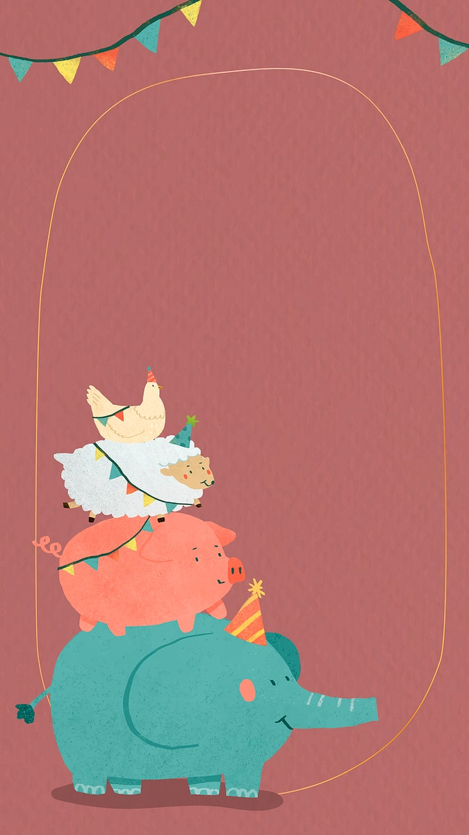 Animal doodle frame mobile phone wallpaper vector