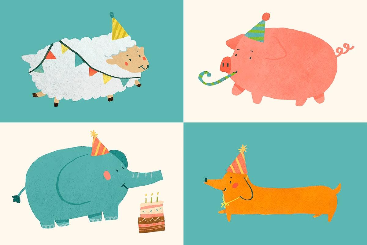 Festive animals doodle element set vector