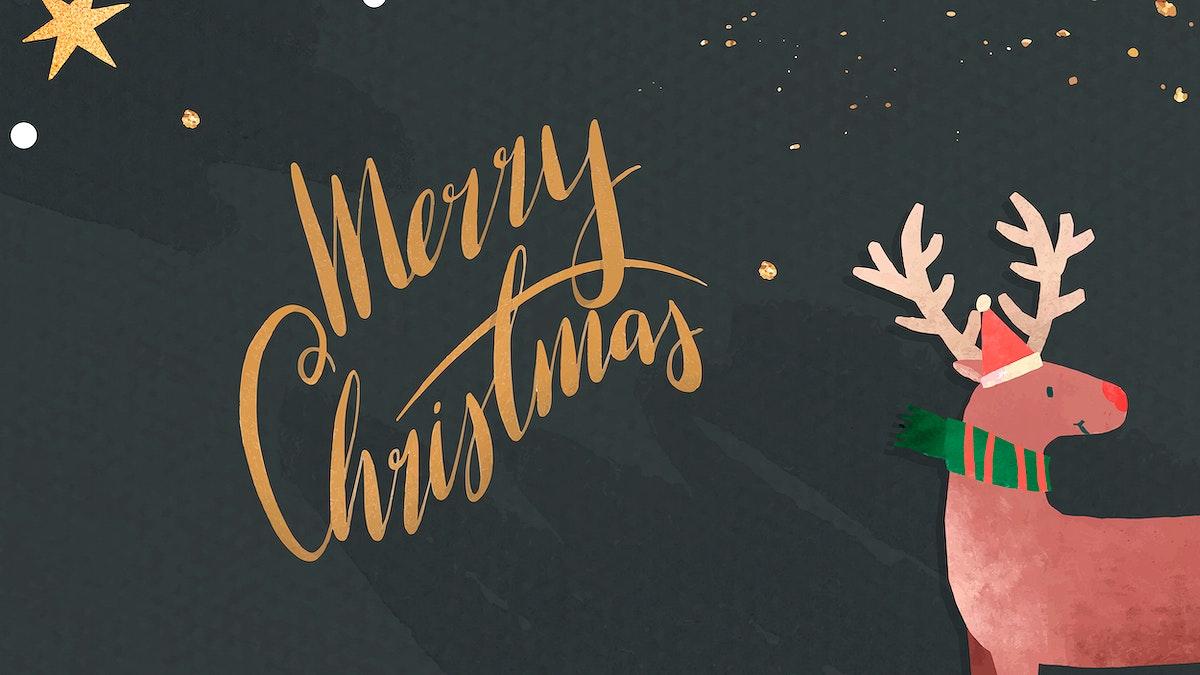 Reindeer with Santa hat Christmas card vector