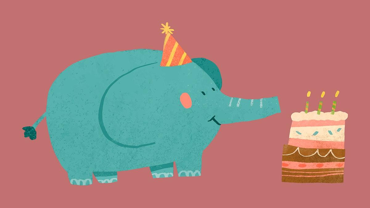 Cute festive elephant element vector