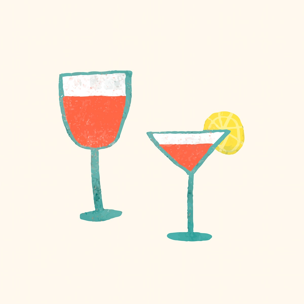 Alcoholic drinks doodle element vector