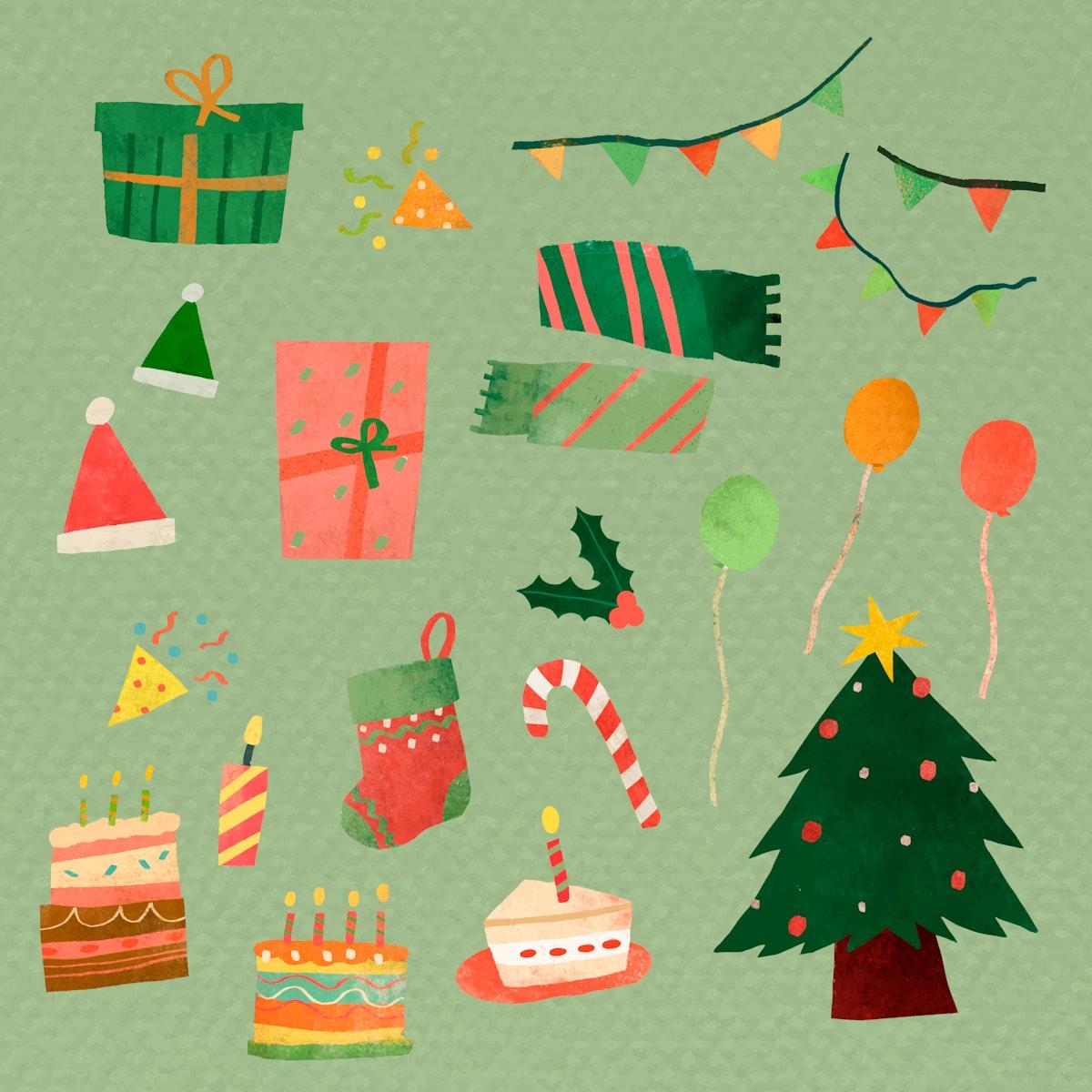 Cute Christmas element set vector