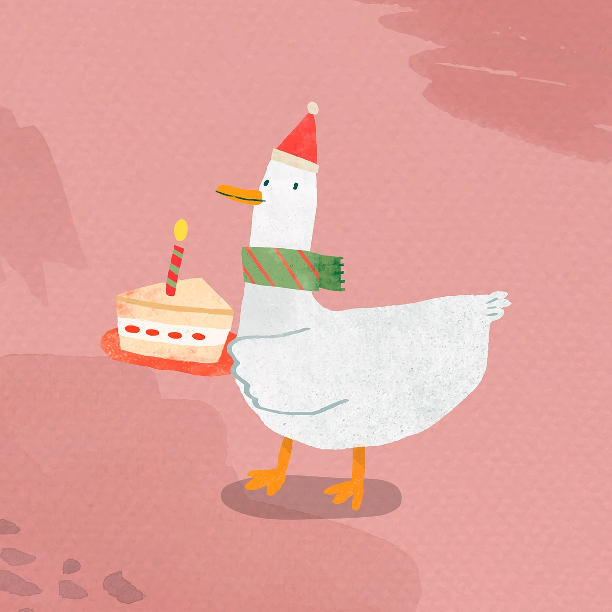 Duck with cake doodle element vector