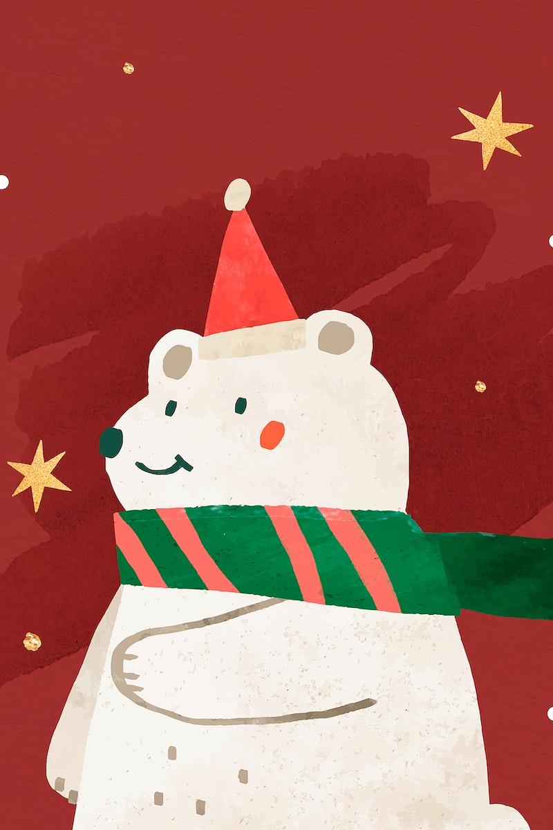 Christmas white bear doodle vector