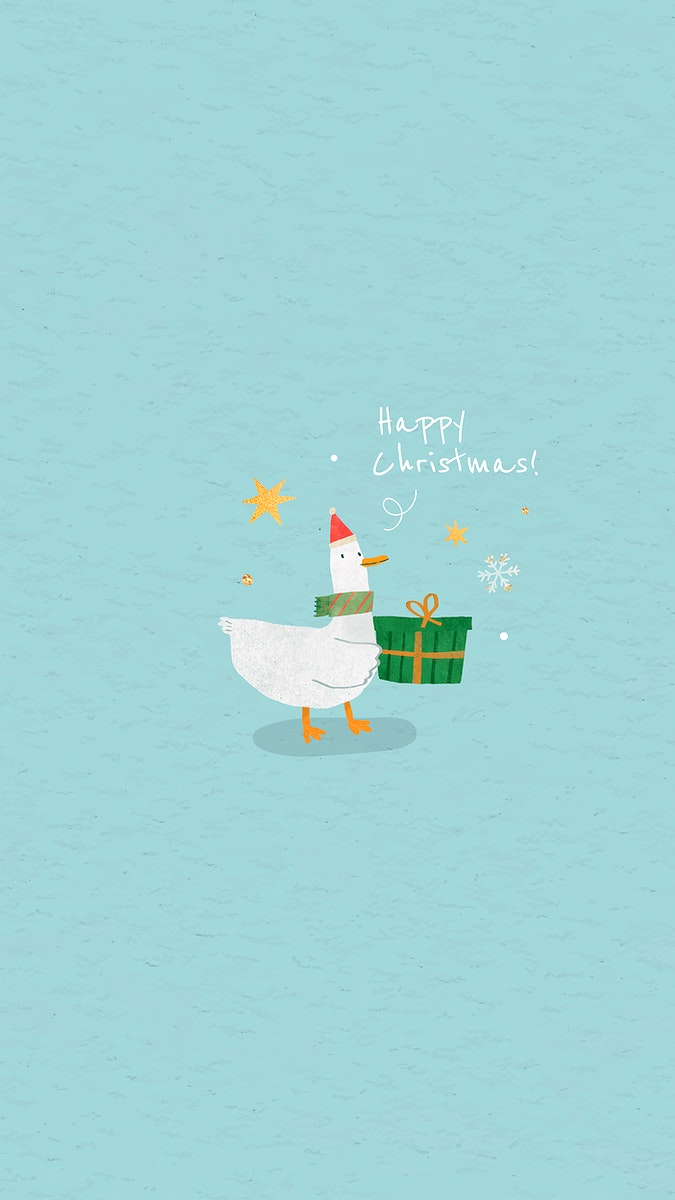 Duck with green Christmas gift box mobile phone wallpaper vector