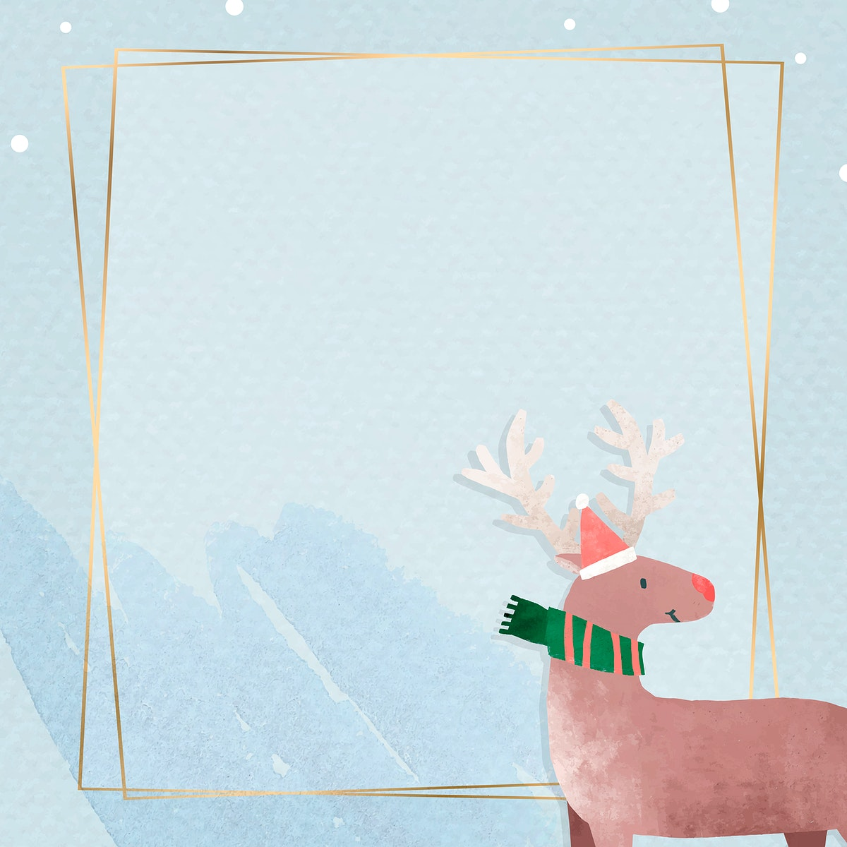 Reindeer in Santa hat with gold frame vector