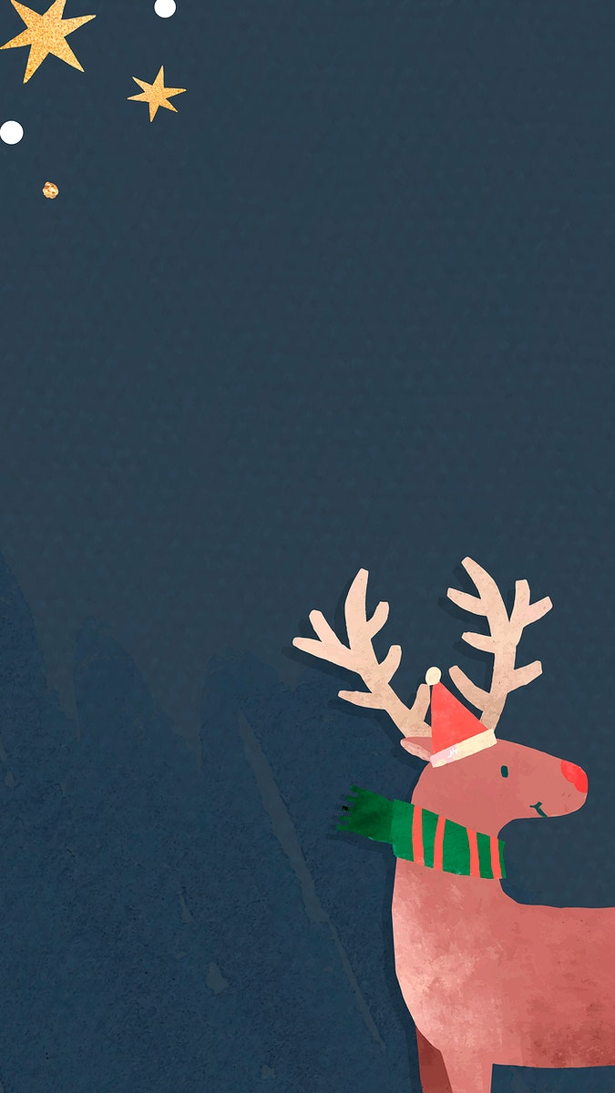 Reindeer with Santa hat mobile phone wallpaper vector