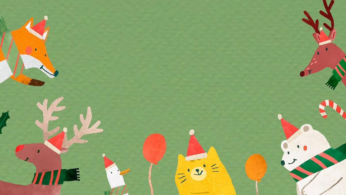 Christmas animal doodle frame vector