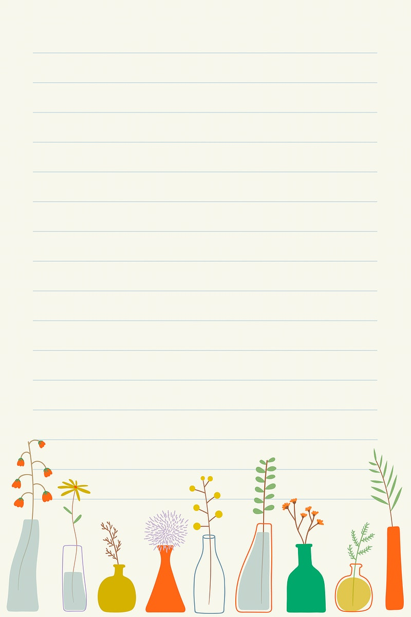 Doodle flowers in vases note paper template vector
