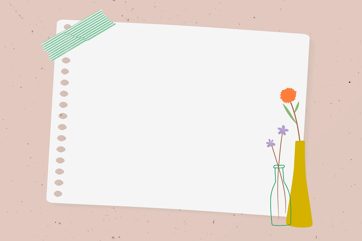 Doodle flowers in vases note paper on pink background vector